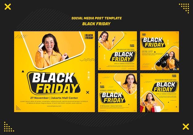 Raccolta di post su instagram per l'autorizzazione del black friday Psd Premium