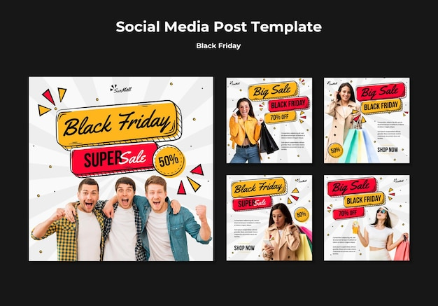Raccolta di post di instagram per la vendita del venerdì nero Psd Premium