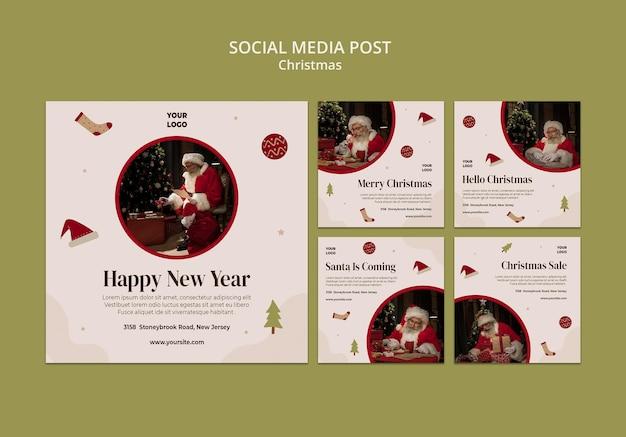 Raccolta di post di instagram per la vendita dello shopping natalizio Psd Premium