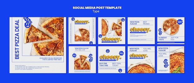 Raccolta di post su instagram per un nuovo sapore di pizza al formaggio Psd Premium