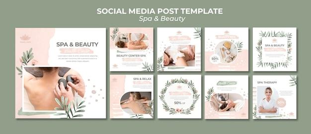 Raccolta di post su instagram per spa e terapia Psd Premium