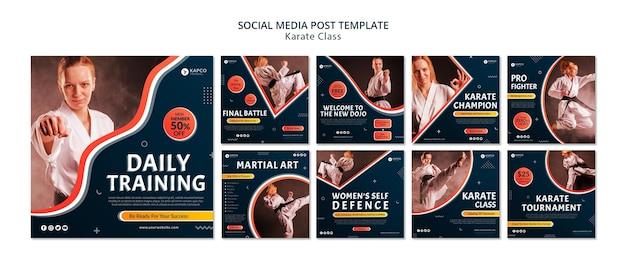 Raccolta di post su instagram per lezioni di karate femminile Psd Premium