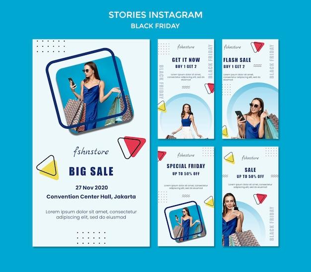 Raccolta di storie di instagram per il venerdì nero con donna e triangoli Psd Premium