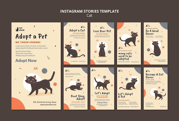 Raccolta di storie di instagram per l'adozione di gatti Psd Premium