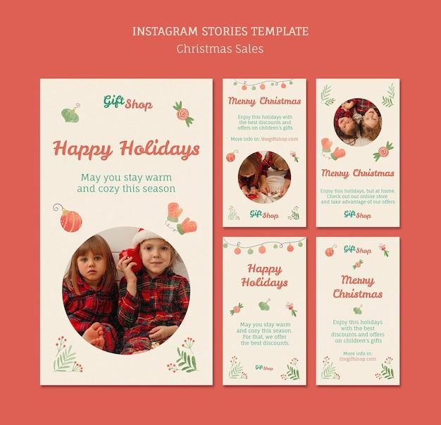 Raccolta di storie di instagram per la vendita di natale con i bambini Psd Premium
