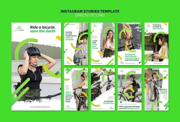 Raccolta di storie di instagram per il ciclismo ecologico Psd Premium