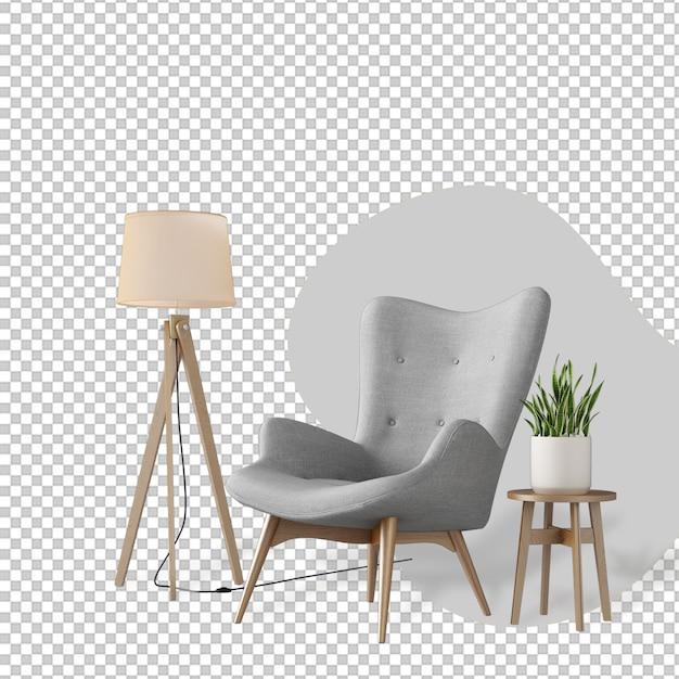 Decorazione d'interni impostata nel rendering 3d Psd Premium