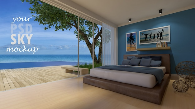 Camera da letto di design degli interni con telaio mockup e vista mockup Psd Premium