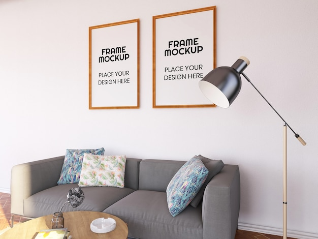Interior living room frame photo mockup Psd Premium