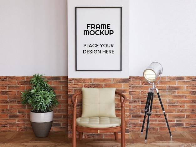 Mockup di cornice per foto di soggiorno interno Psd Premium