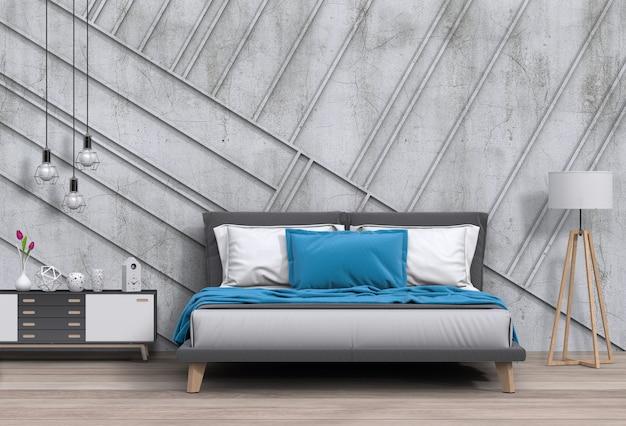 Camera da letto moderna interna con decorazioni Psd Premium