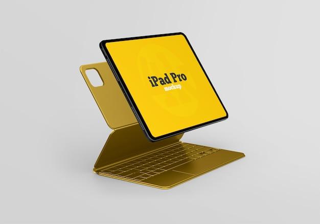 Mockup di ipad pro con tastiera Psd Premium