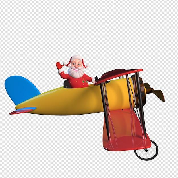 Illustrazione di carattere isolato di babbo natale che tiene il volo in aereo Psd Premium