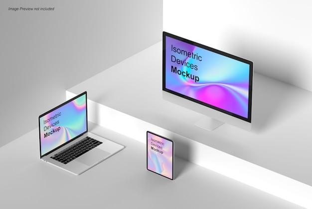Mockup di dispositivi isometrici Psd Premium