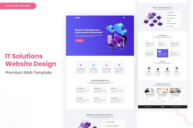 Modello di progettazione della pagina del sito web di soluzioni it Psd Premium