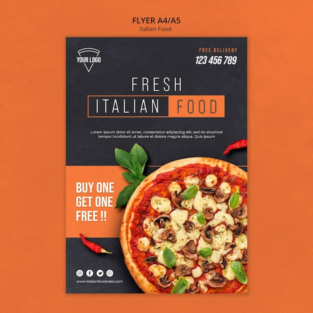 Tema volantino cibo italiano Psd Premium