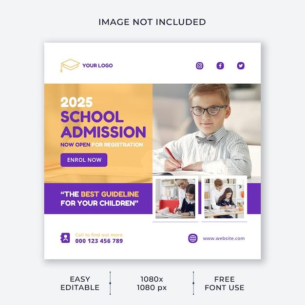 Modello di social media di ammissione alla scuola per bambini Psd Premium