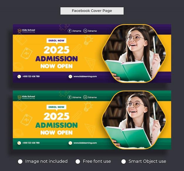 Ammissione all'istruzione scolastica per bambini copertina di facebook e modello di banner web Psd Premium