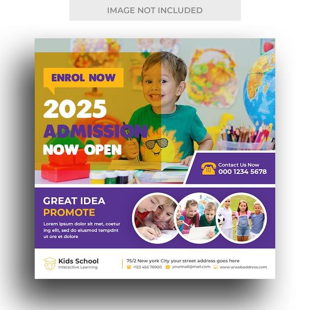 Banner per social media per ammissione all'istruzione scolastica per bambini e modello di post su instagram Psd Premium