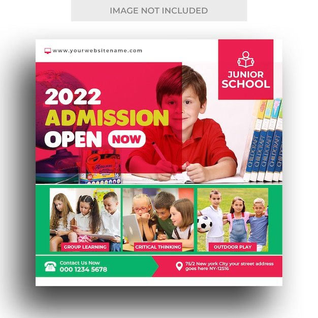 Banner di social media per l'ammissione scolastica per bambini e modello di volantino quadrato Psd Premium