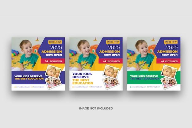 Banner di social media e modello di volantino quadrato di ammissione di istruzione scolastica per bambini Psd Premium
