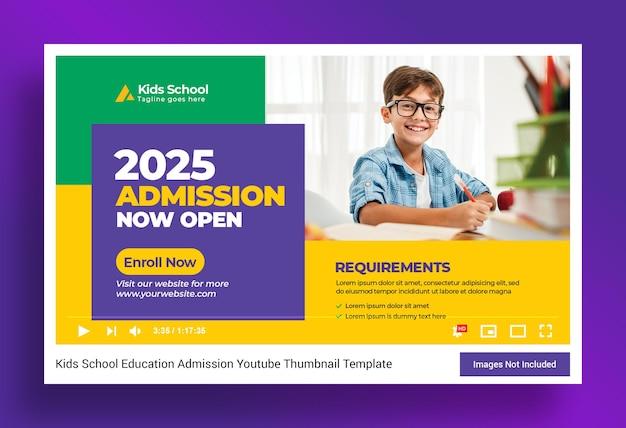 Miniatura di youtube per l'educazione scolastica dei bambini e modello di banner web Psd Premium