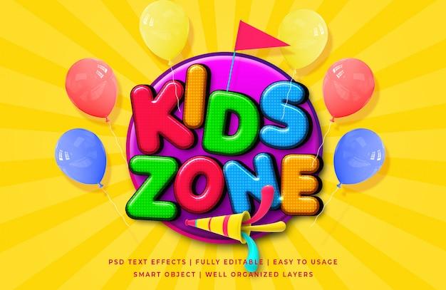 Effetto di stile del testo del fumetto 3d della zona dei bambini Psd Premium