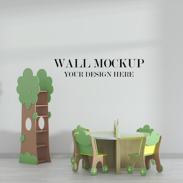 Mockup di muro di classe della scuola materna Psd Premium