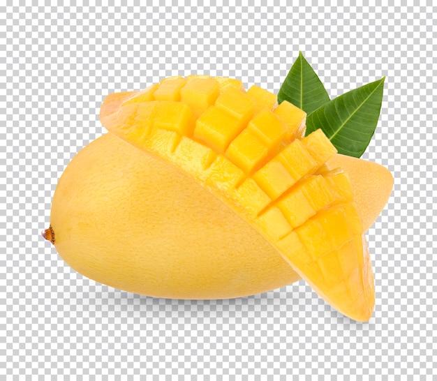 Re di frutta, frutto di mango e affettato con foglie isolate Psd Premium