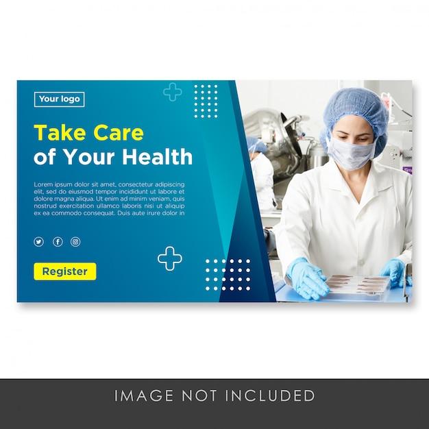 Pagina di destinazione banner gradiente blu modello di salute Psd Premium