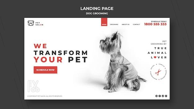 Pagina di destinazione per azienda di toelettatura di animali domestici Psd Premium