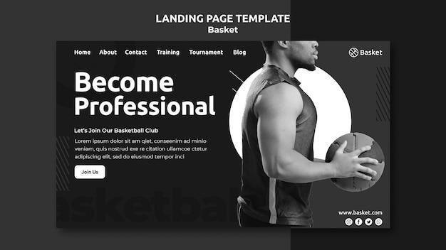 Modello di pagina di destinazione in bianco e nero con atleta di basket maschio Psd Premium