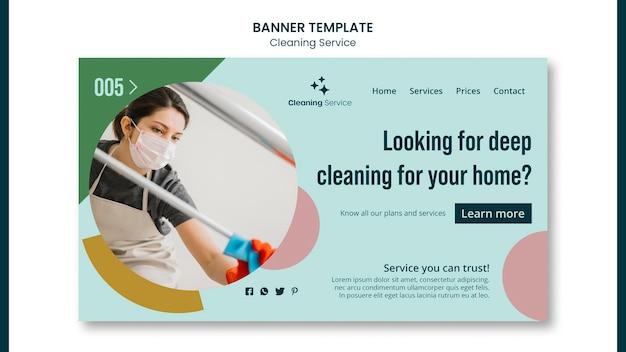 Modello di pagina di destinazione per un'impresa di pulizie domestiche Psd Premium