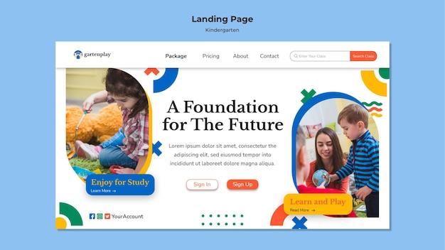 Modello di pagina di destinazione per la scuola materna con i bambini Psd Premium