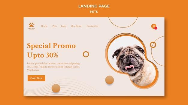 Modello di pagina di destinazione per negozio di animali con cane Psd Premium