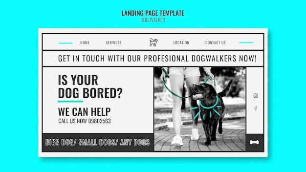 Modello di pagina di destinazione per azienda professionale di passeggiate con cani Psd Premium