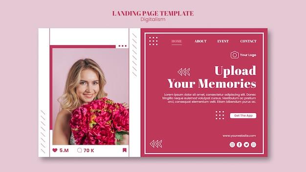 Modello di pagina di destinazione per il caricamento di foto sui social media Psd Premium