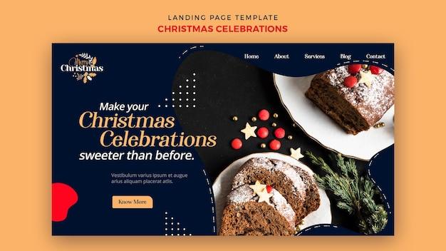 Modello di pagina di destinazione per dolci natalizi tradizionali Psd Premium