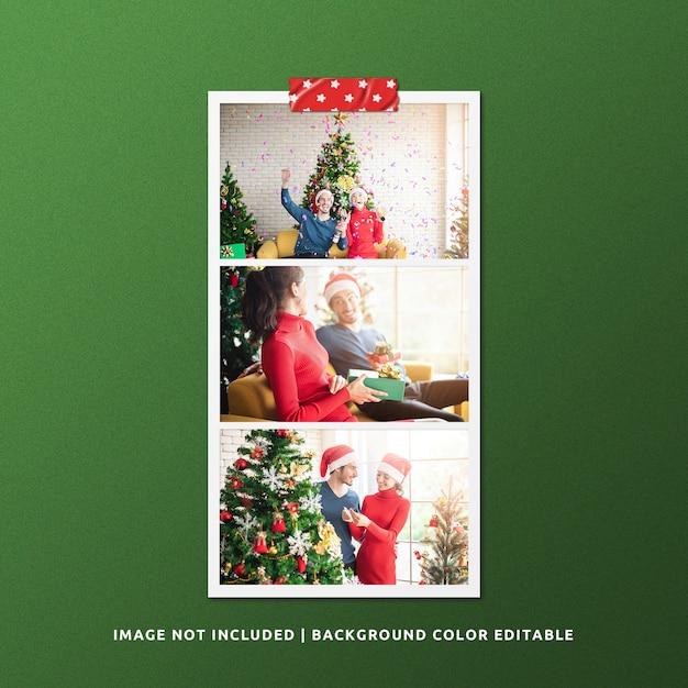 Mockup di foto con cornice di carta orizzontale per natale Psd Premium