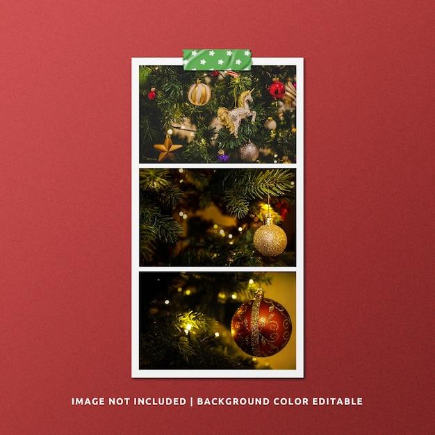 Mockup di foto con cornice in carta per natale Psd Premium