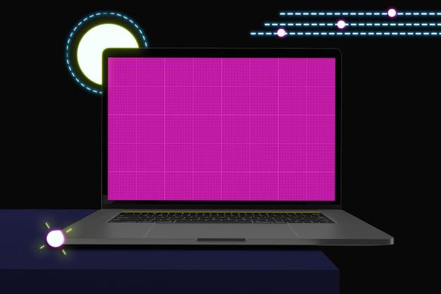 Computer portatile con schermo mockup, stile memphis Psd Premium
