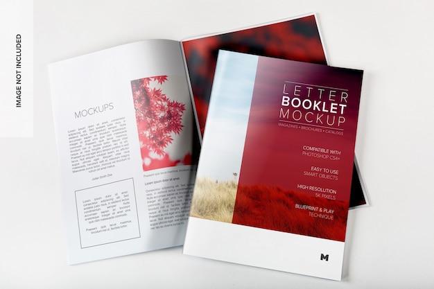 Copertina di libretto di lettere e diffusione mockup Psd Premium
