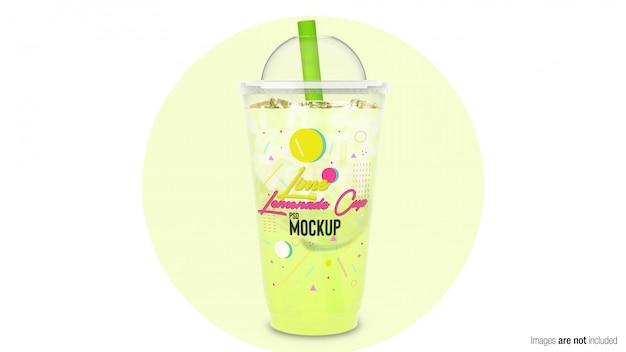 Limonata al lime in un contenitore di plastica Psd Premium