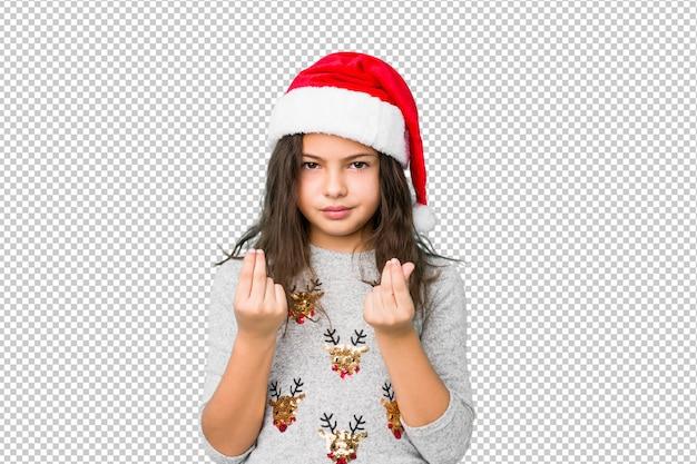 Bambina che celebra il giorno di natale mostrando che non ha soldi. Psd Premium