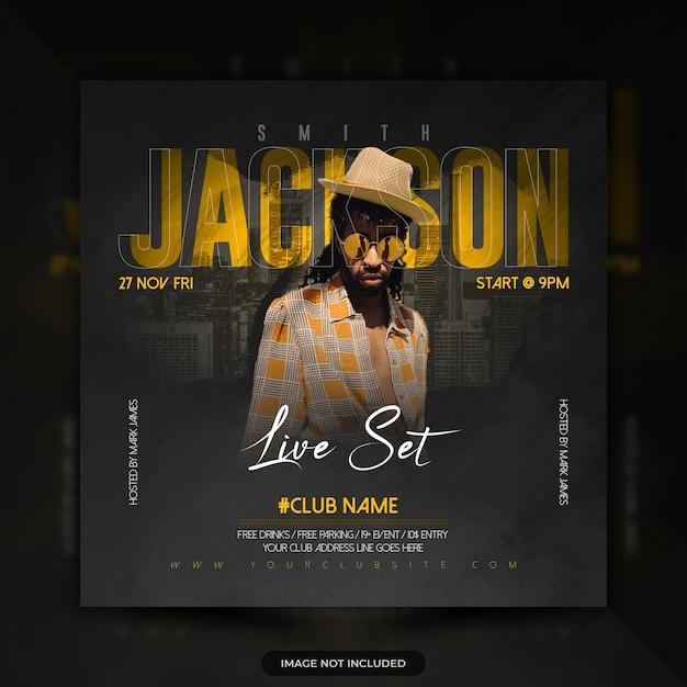 Banner di post sui social media per concerti di musica dal vivo dj party flyer Psd Premium