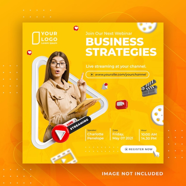 Modello di post instagram di social media in live streaming business workshop Psd Premium