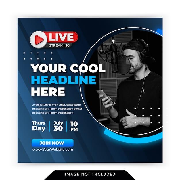 Workshop di live streaming instagram post modello di post sui social media Psd Premium