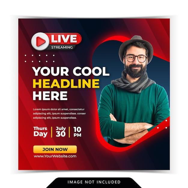 Modello di post sui social media per post su instagram di live streaming workshop Psd Premium