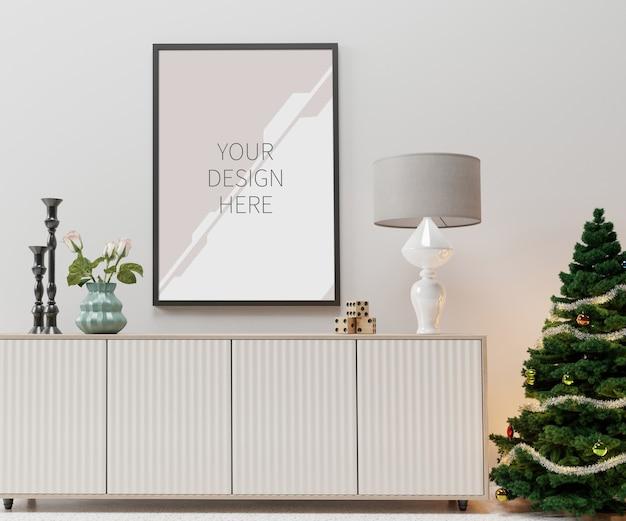 Mockup di interni e cornice di natale in soggiorno Psd Premium