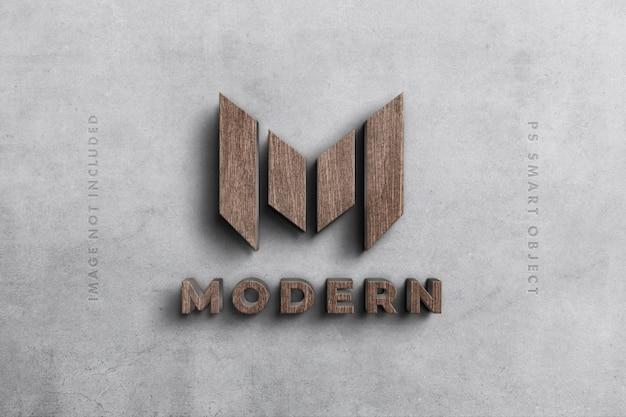 Logo 3d mockup in legno Psd Premium
